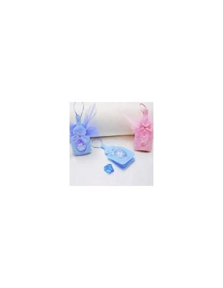 Sacchetto a biberon porta confetti azzurro