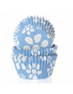 50 PIROTTINI PER CUPCAKES FLOWER BLUE