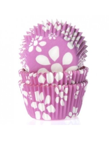 50 PIROTTINI PER CUPCAKES FLOWER PINK