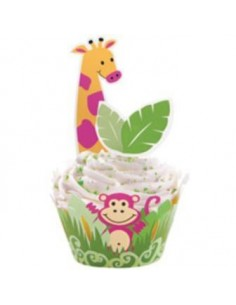 12 PIROTTINI PER CUPCAKES JUNGLE PALS CON 24 PIX