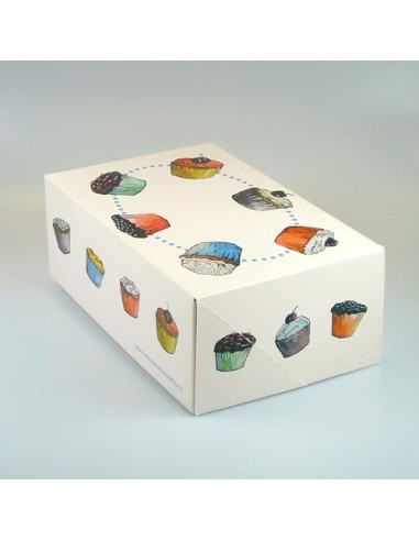 Scatola per 6 Cupcakes -- Muffin Funcakes Design Zonder Venster