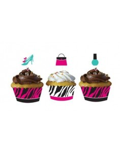 12 Cupcake Wrap con picks  Fashion Party