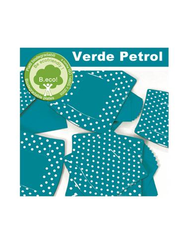 10 Piatti cm 24 Pois Verde Petrolio