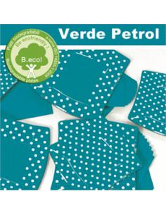 10 Piatti cm 19 Pois Verde Petrolio