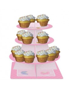 ALZATA PER MUFFIN CUPCAKES TEDDY BABY PINK