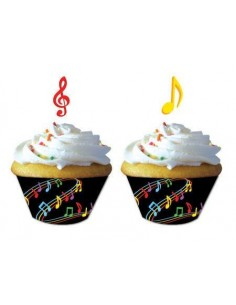 12 WRAPPER MUSIC NOTE PER MUFFIN CUPCAKE + PICK