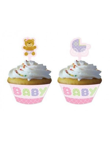 12 WRAPPER TEDDY BABY PINK PER MUFFIN CUPCAKE + PICK