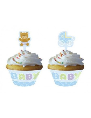 12 WRAPPER TEDDY BABY BLUE PER MUFFIN CUPCAKE + PICK