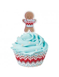 CF 24 PIROTTINI MUFFIN C/PICK OMINO GINGERBREAD NATALE WILTON