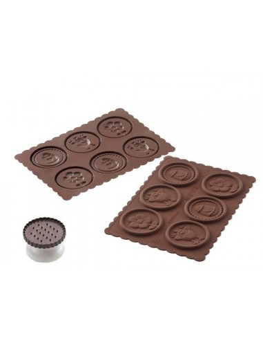 STAMPO IN SILICONE COOKIE EASTER MARRONE + TAGLIAPASTA IN PACK P