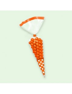 Sacchetti cellophane cono Polka Dot 9 x 27 cm Orange Arancio 10 pz per Caramelle