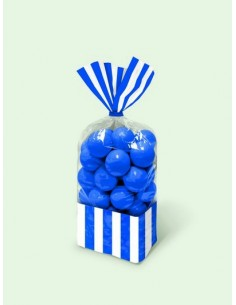 Sacchetti cellophane rettang. Striped 13x25 cm blu royal 10 pz per Caramelle Confetti Mallow Candy Buffet