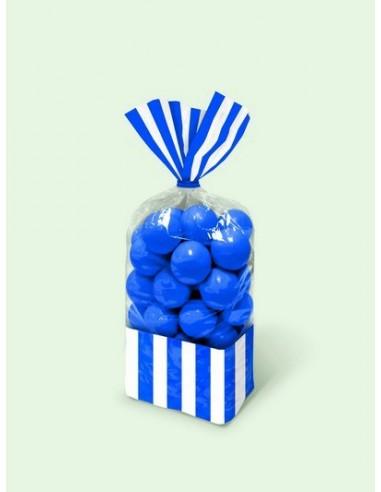 Sacchetti cellophane rettang. Striped 13x25 cm blu royal 10 pz per Caramelle Confetti Mallow Candy Buffet