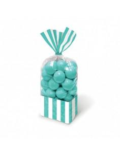 Sacchetti cellophane rettang. Striped 13x25 cm Verde Acqua10 pz per Caramelle Confetti Mallow Candy Buffet