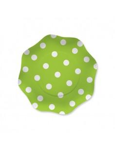 10 Piatti  18 cm Pois Verde Mela