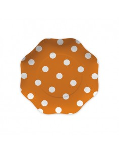10 Piatti  18 cm Pois Arancio