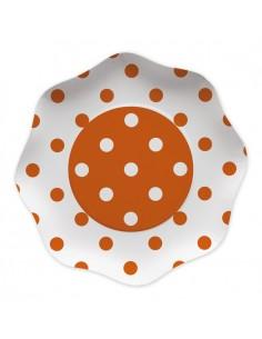 10 Piatti  23 cm Pois Arancio