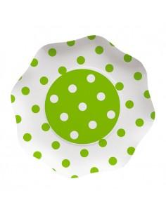 10 Piatti  23 cm Pois Verde Mela