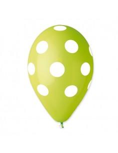 10 Palloncini Pois Verde Mela