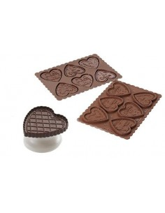STAMPO IN SILICONE COOKIE HEART MARRONE + TAGLIAPASTA IN PACK SLIM