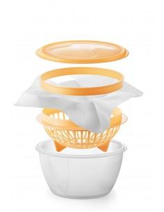 Tescoma Della Casa Set per Preparare Formaggi Cremosi, Plastica, Trasparente/Giallo