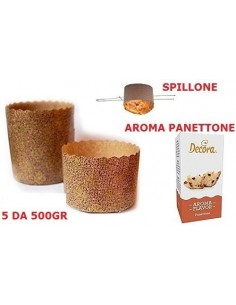 KIT N2 PER PANETTONE NATALE CANASTA(5 FORME IN CARTA DA 750 GR,SPILLONE IN ACCIAIO,AROMA PANETTONE)