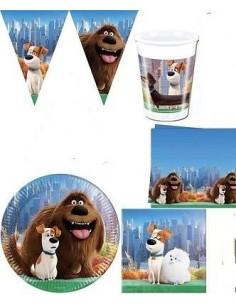 KIT PIATTI COMPLEANNO PETS VITA DA ANIMALI CON FESTONE (24 piatti-24 bicchieri-40 tovaglioli -1 tovaglia - 1 festone)