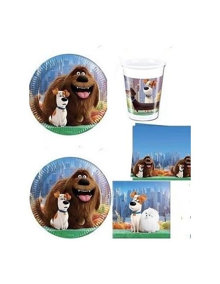 KIT PIATTI COMPLEANNO PETS VITA DA ANIMALI 40 OSPITI(40 piatti-40 bicchieri- 1 tovaglia- 40 tovaglioli)