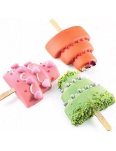 Stampo in silicone wedding cake su stecco gelati,semifreddi ,san valentino GEL 09 Wedding Stick