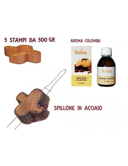 KIT P3 PER COLOMBA PASQUA(5 FORME IN CARTA DA 500 GR,SPILLONE IN ACCIAIO,AROMA COLOMBA)