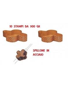 SPILLONE IN ACCIAIO CON 10 STAMPI PER COLOMBA 500 GR IN CARTA FORNO MONOUSO - 10 PEZZI DA 500 gr