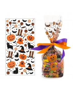 20 Sacchetti in plastica Zucchette Halloween per caramelle dolciumi