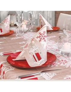 Set TOVAGLIA con TOVAGLIOLI in Tessuto Simile A Stoffa Fantasia Holly Rosso Natale Capodanno