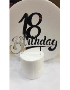 CAKE TOPPER IN PLEXIGLASS A SPECCHIO 18 BIRTHDAY