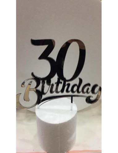 CAKE TOPPER IN PLEXIGLASS A SPECCHIO 30 BIRTHDAY