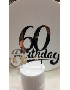 CAKE TOPPER IN PLEXIGLASS A SPECCHIO 60 BIRTHDAY