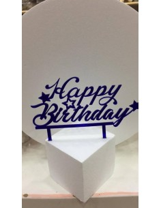 CAKE TOPPER IN PLEXIGLASS A SPECCHIO HAPPY BIRTHDAY CON STELLE BLU