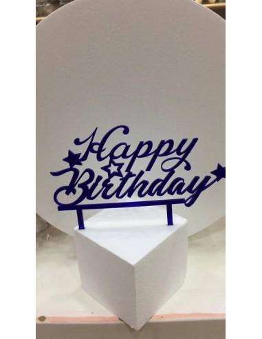 CAKE TOPPER IN PLEXIGLASS A SPECCHIO HAPPY BIRTHDAY CON STELLE BLU