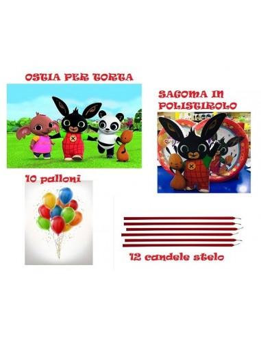 KIT BING CON OSTIA PER TORTA- SAGOMA IN POLISTIROLO -10 PALLONI -12 CANDELE