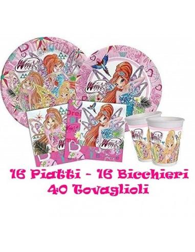 Kit 72 PZ Compleanno Bambini Winx TYNIX Coordinato TAVOLA(16 Piatti,16 Bicchieri,40 TOVAGLIOLI)