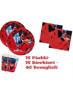 Kit 72 PZ Compleanno Bambini LadyBug MIraculous Coordinato TAVOLA(16 Piatti,16 Bicchieri,40 TOVAGLIOLI)