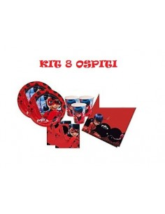 Kit 8 Ospiti LadyBug Miraculous Coordinato TAVOLA Compleanno ADDOBBI(8 Piatti,8 Bicchieri,20 TOVAGLIOLI,1 TOVAGLIA)