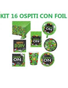 it 16 Ospiti Gaming Party Coordinato TAVOLA con Pallone Foil (16 Piatti 16 Bicchieri 16 TOVAGLIOLI 1 TOVAGLIA 1 Pallone Foil)