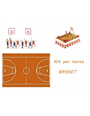 Kit per Torte Basket Ostia Campo di Basket con Set Giocatori 10 Pezzi