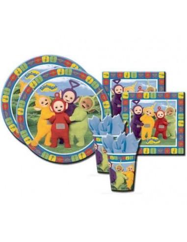 Kit 48 PZ Compleanno Bambini Teletubbies Coordinato TAVOLA (16 Piatti,16 Bicchieri,16 TOVAGLIOLI)