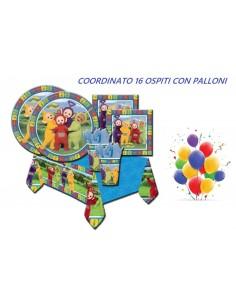 KIT 16 OSPITI TELETUBBIES CON PALLONI COORDINATO TAVOLA (16 PIATTI,16 TOVAGLIOLI,16 BICCHIERI,1 TOVAGLIA,10 PALLONI)