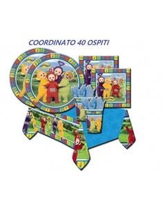 KIT 40 OSPITI TELETUBBIES COORDINATO TAVOLA (40 PIATTI,32 TOVAGLIOLI,40 BICCHIERI,1 TOVAGLIA)